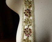 """Beaded Trim 18"""" in Gold Metallic & Burgundy for Applique, Tribal Fusion, Costumes, Headbands, Crafts"""