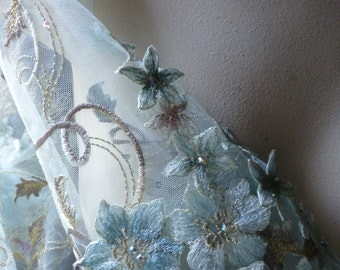 """Aqua """"Alice"""" Fabric Appliqued, Beaded and Embroidered for GRAD, Lyrical Dance, Ballet, Couture Gowns, Costume Design"""