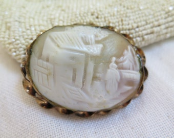 Antique Shell Cameo Brooch Rolled Gold Setting Victorian