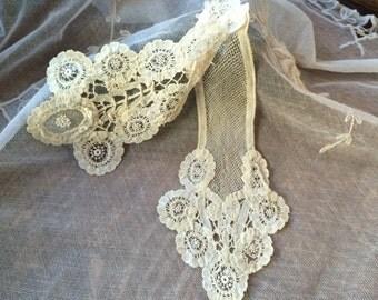 Antique Belgium Lace Jabot /Collar 2 Piece Collar Cotton Lace