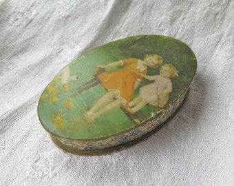 Antique Candy Box from France Oval Paper Lakeside Scene with Girls Floral Trim Easter Candy Container