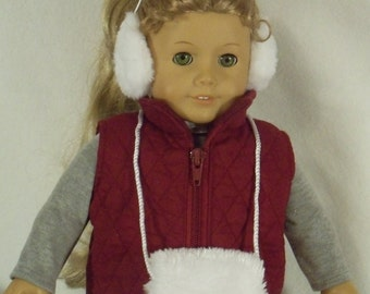 American Made 18 inch Doll Maroon Quilted Ski Vest