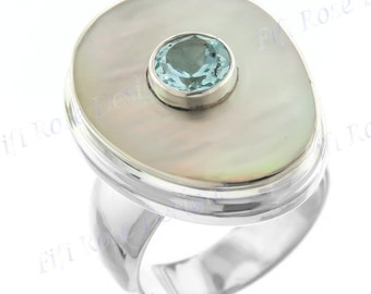 Lavish Blue Topaz Mother Of Pearl Shell 925 Sterling Silver Sz 6 Ring