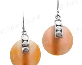 "11/16"" Gold Abalone Shell 925 Sterling Silver Earrings"
