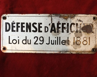 Old french enamel plate - prohibited from posting