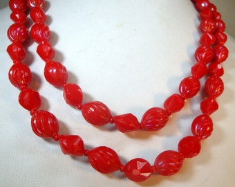 Mad Men Lipstick Red Necklace, 2 Strands Faceted n Swirled Beads, 1950s Elegant, Sexy Color , Western Germany Creation