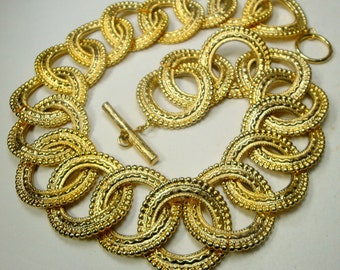 Large Gold Circle Link Necklace Chain, Dramatic Metro Tribal Design,  1980s