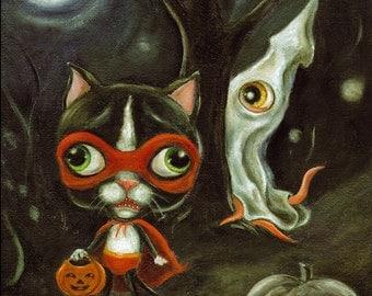 Halloween Cat Art Print, Squid Print, Halloween Print, Tuxedo Cat print, Big Eye Art, Pop Surrealism, Lowbrow Art, Matted print, 8x10 print