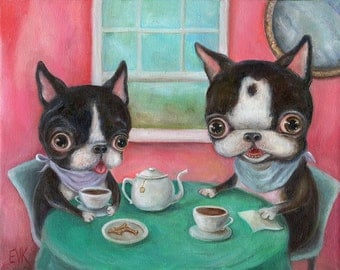 Boston Terrier Art Print, Dog Art Print, Tea Party, Pop Surrealism, Whimsical Art, Childrens wall art, nursery wall art, matted print