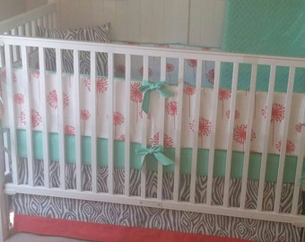 Mint Coral and Gray Baby Girl Crib Bedding READY TO SHIP