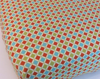 Orange Aqua and Lime Green Fitted Crib Sheet