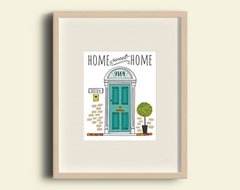 PRINTABLE Customized Front Door Home Sweet Home Illustration Art Print Homecoming Gift or Wall Decor