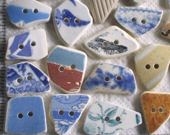 20 Sea Beach Pottery Buttons Focals Double Drilled 2mm holes Supplies (1891)