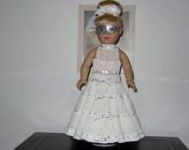 "Silver Splendor Masquerade Ball Gown Crochet Pattern for 18"" Doll"