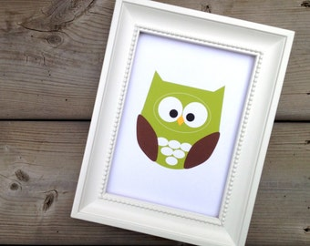Green Owl Art Print, Home Decor, Nursery Picture, Forest Animal Art, Woodland Creature