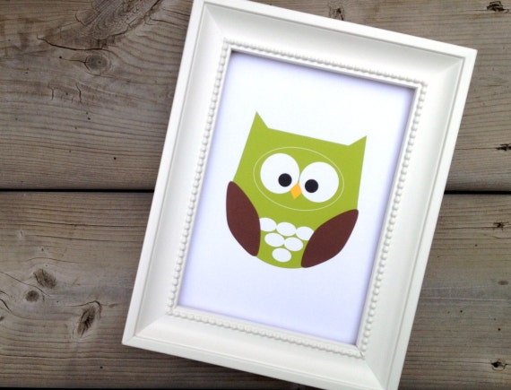 Green Owl Art Print, Home Decor, Nursery Picture, Forest Animal Art, Woodland Creature