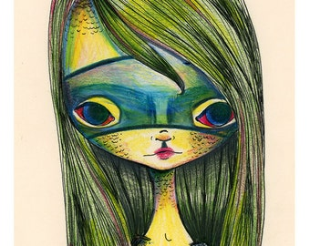 "5x7 Art Print ""Green Girl"" Little Alligator Girl in Green Mask - Creepy Cute Lowbrow art - Small Premium Giclee Fine Art Print"