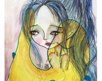 """5x7 Premium Art Print - """"Blue Juneau Dreams"""" - Small Size Giclee Print of Original Artwork-Artist and Daughter collaboration-Pink and Yellow"""