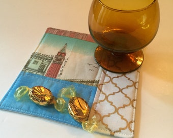 Coaster, large Mug Rug, Placemat, Snack Mat, cubicle decor with whimsical Italian landmarks