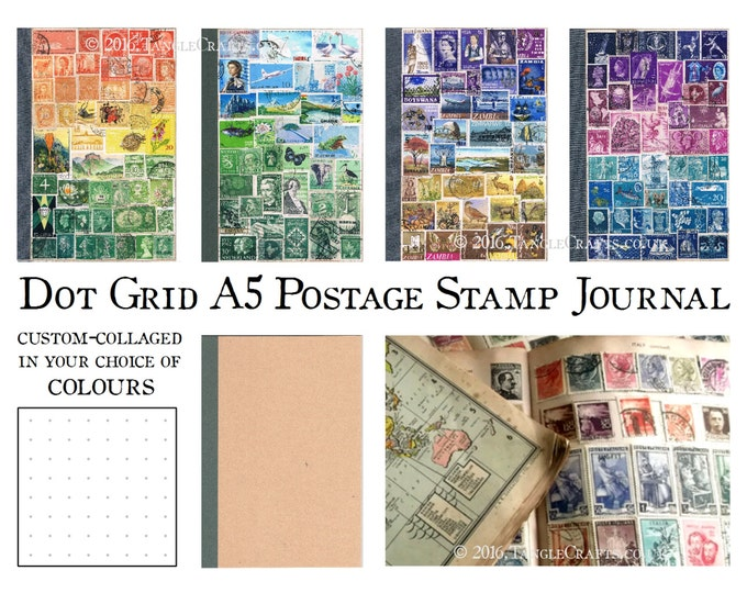 Featured listing image: A5 Dot Grid Bullet Journal - Stamp Art Cover in your choice of colours