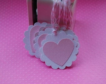 White and Pink Heart Tags--Set of 10 tags--Baby Shower Tag-Favor Tag-Heart Gift Tag-Wedding Shower-Valentines Tag--Ready to Ship