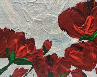 Red Poppies, Abstract, 4x4 Original Acrylic Painting on Stretched Canvas, Whimsical, Miniature