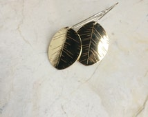 Stamped Brass Leaf Dangles. Long Sterling Ear Wires. Golden Leaf Earrings. Natute. Everyday. Mixed Metal. Leaf Charms. Bohemian. Simple.