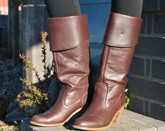 Vintage Dexter Heeled Brown Leather Pirate Boots