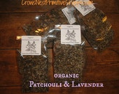 PATCHOULI and LAVENDER - Natural organic dried herbs  of Patchouli and Lavender blend-  very hippie rustic primitive natural herbal scent