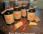 Red Hot Cinnamon Primitive Handmade ROOM SPRAYS in 4 ounce spray bottle scented Strong Cinnamon Fragrance-great for home, office or travel