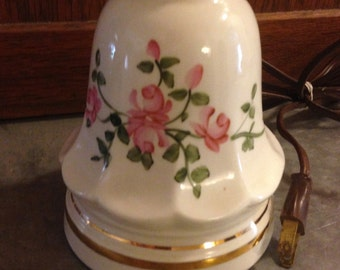 Antique Ceramic Table Lamp With Handpainted Roses