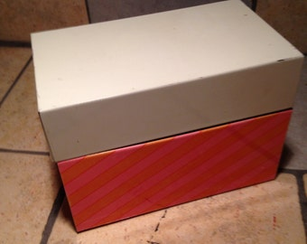 Pink and Orange Stripe Tin Recipe File Box