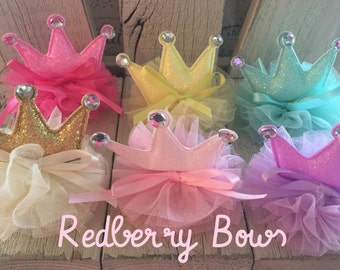 PASTEL Glitter PUFF CROWN with Tulle and Bow on Clip…Birthday Crown..Party Crown..Princess Crown.