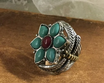 """Knucklebuster Ring Signed """"Lucky You"""" Faux Turquoise Faux Carnelian Silvertone Flower Ring Ornate Mounting and Shank"""