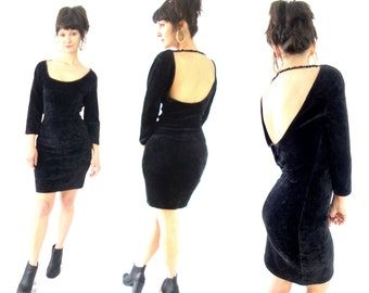 90s bodycon dress / black velvet / low U back / long sleeve / sequin back strap / medium small