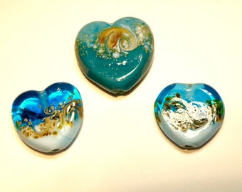 DESTASH -- Three (3) Large Teal Green, Turquoise Blue, and Khaki Lampwork Glass Raku Focal Beads -- Lot 3G