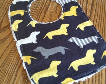 Flannel & Chenille Baby Bib, Snap Closure, Gray with Yellow, White and Gray Wiener Dogs