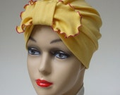 Organic Cotton Turban, Daffodil Yellow, Picot Bow in Front, Medium, Stretchy Comfort, One of a Kind