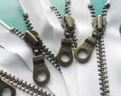 YKK Zippers- Antique Brass Donut Pull Metal Zipper- 501 White- (5) Pieces- Available in 4,6,7,8,9,10,12,13,14 and 19 inches