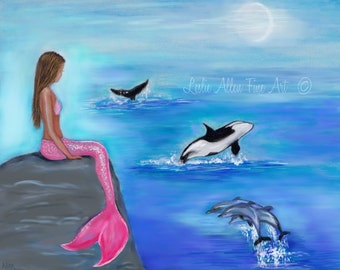 "Mermaid Art Print Mermaid Painting Mermaid Decor Dolphin Art Whale Art Mermaid Pink Tail  ""Dolphin And Whale Splash""   Leslie Allen Fine Art"