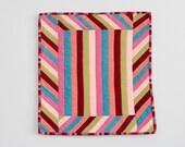 Baby Blankie, Lovey, Security Blanket - Modern Patchwork Sideways Stripes