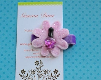 Purple Glitter Nail Polish Felt Flower Hairclip