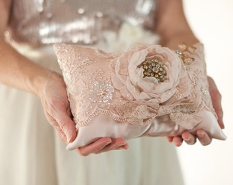 Wedding Ring Pillow, vintage style wedding lace ring bearer pillow, blush, dusty pink, gold pink flower