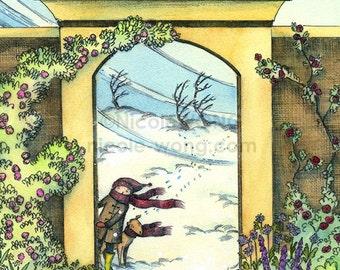 8x10 signed archival art Print -- Winter garden