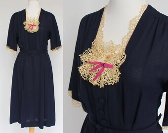 RESERVED - 40's Belted Dress / Navy Blue with Ecru Lace / Rayon Dress / Large to XLarge