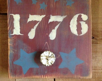 Primitive Patriotic 1776 Wooden sign/ Summer decor Key holder