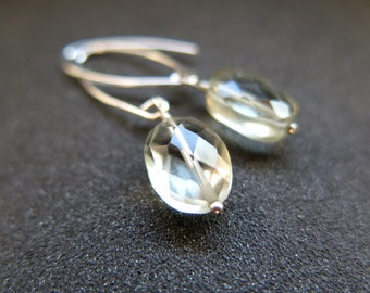 green amethyst earrings. prasiolet jewelry. sterling silver dangle earings. made in Canada