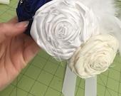 CUSTOM ORDER - sarahburley21 - Rhinestone Headband with Rhinestones Pearls and Feathers, Wedding Hair Accessory, Wedding Crown, Flower Crown