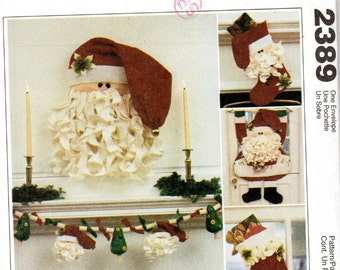 McCalls Crafts 2389 Sewing Pattern - Santa Christmas Decorations - Door Hanger, Ornament, Stocking, Garland, Card Holder
