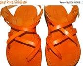 15% OFF Orange Triple Leather Sandals for Men & Women - Handmade Sandals, Leather Flats, Leather Flip Flops, Unisex Sandals, Orange Leather